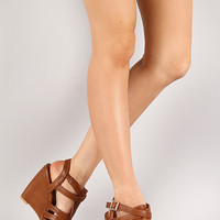 Qupid Syd-05 Strappy Cut Out Round Toe Wedge