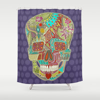 flower skull spot Shower Curtain by Sharon Turner | Society6