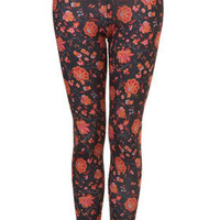 Black Gypsy Floral Print Leggings - Trousers &amp; Leggings - Clothing - Topshop USA