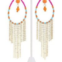 Teardrop Earring with Colored Stone and Fringe