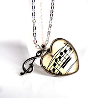 Heart Music Necklace, Sheet Music Art, Musical Note Jewelry, Treble Clef Charm, Heart Pendant