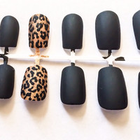 Matte fake nails animal print false nails cheetah print acrylic nails glitter artificial nails