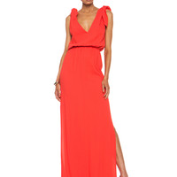 Long Viscose-Blend Silk Dress in Coral