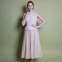 50s Ivory Lace WEDDING DRESS / Iridescent Sequin, Full Skirt & Peplum, s