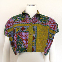 Vintage 80s 90s Colorful African Print Women's Crop Top - Gold Green Purple Red Tribal Print Oversize Cropped Shirt - Size Small