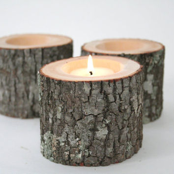 Tree Branch Candle Holders II Rustic Wood by WorleysLighting
