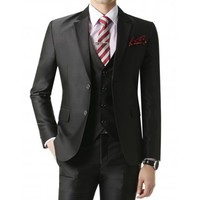 Doublju Men's 2 Button Suit Blazer Jacket Black (KMOBL024)