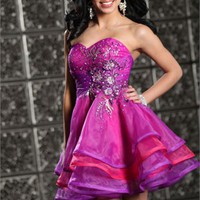 Mini short strapless v-neck beaded Fuchsia Prom Dresses 2012 PDM311 - Wholesale cheap discount price 2012 style online for sale.