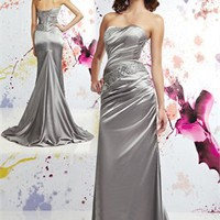 A-line strapless lace-up black beaded court train silver Prom Dresses 2012 PDM307 - Wholesale cheap discount price 2012 style online for sale.