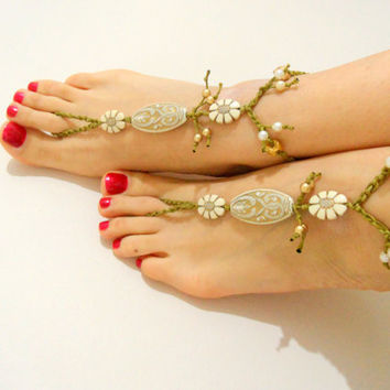 tribal sandals beach wedding gold anklet hippie by theflowerdesign