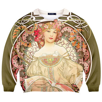 ROMWE Goddess Print Long-sleeved Sweatshirt