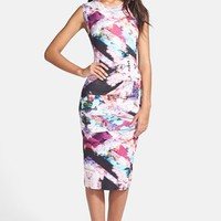 Nicole Miller Tidal Pleat Print Jersey Pencil Dress