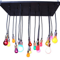 Industrial Chandelier with Cinco de Mayo bulbs by urbanchandy