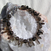 "Smoky Quartz Crystal Gemstone Bracelet - ""Islay"""