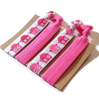 Elastic Hair Ties Hot Pink Owl No Crease Yoga Hair Bands