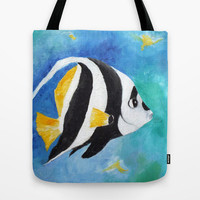Large Tote, Banner Fish, Tropical Fish Print Bag
