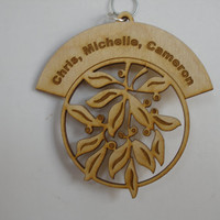 Personalized engraved Mistletoe and berries wood Christmas ornament