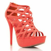 strappy suede heels &amp;#36;25.30 in HOTCORAL MAGENTA - Heels | GoJane.com