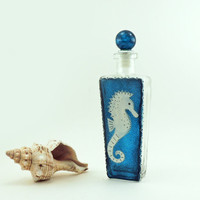 Sea horse hand painted glass bottle for oil, vinegar, soap, bubble bath, detergent or perfume