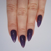 Holographic Purple Stiletto nails, Nail designs, Nail art, Nails, Stiletto nails, Acrylic nails, Pointy nails, Fake nails