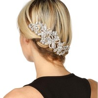 Silver Flower Rhinestone Hair Brooch