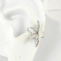 Sterling Silver Starfish Ear Cuff Left Earring
