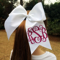 Glitter Monogram Cheer Bow, Monogrammed Hair Bow, Big Cheer Bow, Monogrammed Gifts for Cheerleaders, Dancers, Gymanastics, Girls, Teens