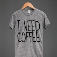 I Need Coffee T-shirt (idc421905)-Unisex Athletic Grey T-Shirt