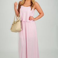 Slip On The Fun Dress: Baby Pink/White