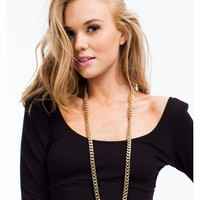 Long Simple Curb Link Chain Necklace - GoJane.com