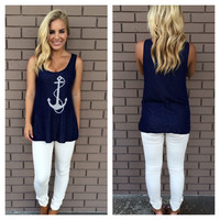 Newport Navy Anchor Knit Tank
