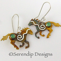 Sterling Silver Running Horse Earrings with Green Chrysoprase and Silver Wavy Spirals