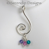 Argentium Silver Spiral Mothers Pendant with Three Swarovski Crystal Birthstone Dangles Family Pendant, Grandmothers Necklace SN7