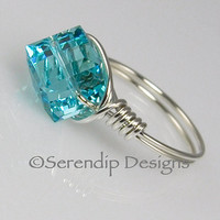 Argentium Sterling Silver Light Turquoise Crystal Cube Ring Swarovski in Your Size