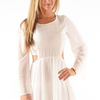 White Long Sleeve Mini Dress w/ Side Cutouts