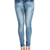 Split Knee Faded Skinny Jeans