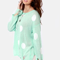 Loved to Shreds Mint Polka Dot Sweater
