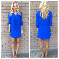 Royal Blue 3/4 Sleeve Drawstring Dress