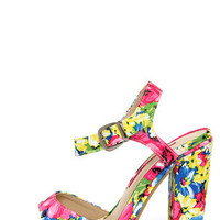 C Label Cherish 1 Multi Floral Print High Heel Sandals