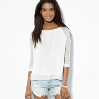 AE SHEER SLEEVE BASEBALL T-SHIRT