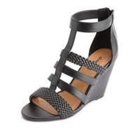 BRAIDED T-STRAP GLADIATOR WEDGE SANDALS