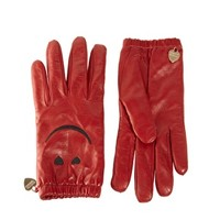 Moschino Cheap & Chic Smiley Leather Gloves