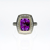 cushion cut Amethyst engagement ring with Diamonds, engagement ring, diamond, halo, white gold, pave, diamond ring, purple