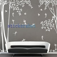 nature vinyl  forest tree wall decal with  Fairy decal girl Fairy  forest wall decal for living room decor