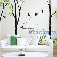 large Birch Tree Forest Wall Decal with birds for living room wall decor
