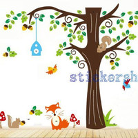 woodland Forest Animals tree Wall decal Baby Forest Animals wall stickers Nursery Vinyl children stickers