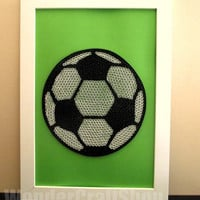 quilled paper soccer ball in a frame for decorating your room