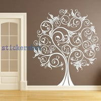 Large flower Tree Wall Decals vinyl beauty tree decals for living room wall art decor
