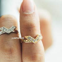 cz chevron mark knuckle ring,Jewelry,Ring,gift idea,bridesmaid ring,unique ring,Cubic Chevron,stackable ring,stacked ring,bridesmaid ring