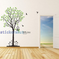 tree birds decals Vinyl Tree Birds Wall Decal Tree Wall Art Birdcage Wall Sticker